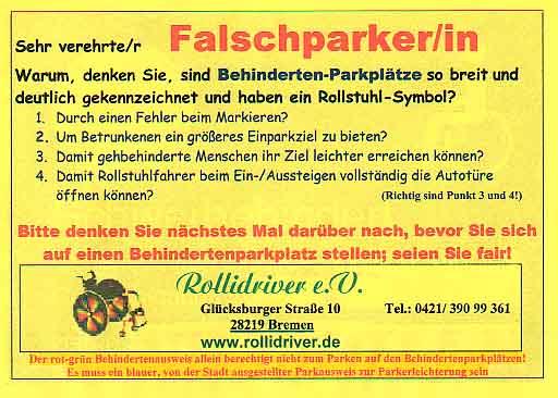 grusskarte für falsch-parkierer - dasanderekind.ch